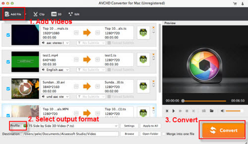 Convert AVCHD MTS/M2TS to MOV on Mac, Import MTS