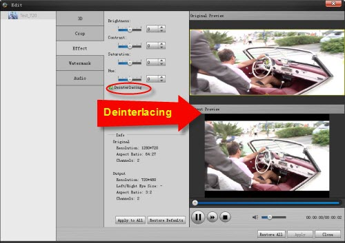 Deinterlace AVCHD MTS/M2TS files, Remove Interlace