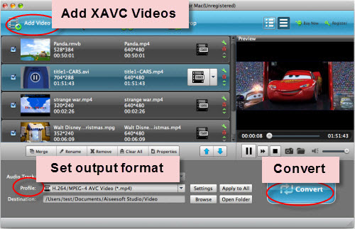 Convert XAVC to MOV on Mac, Import XAVC