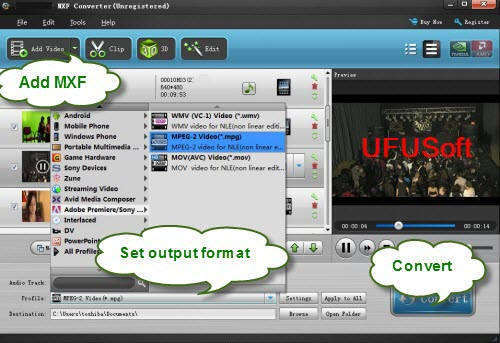 DVCPRO P2 MXF Video Converter