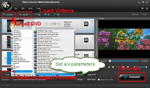 set output for converting movies to Pantech Discover