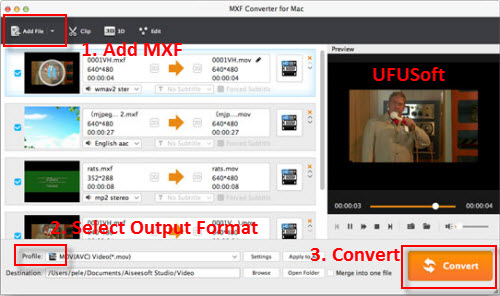 convert MXF to DivX on Mac.