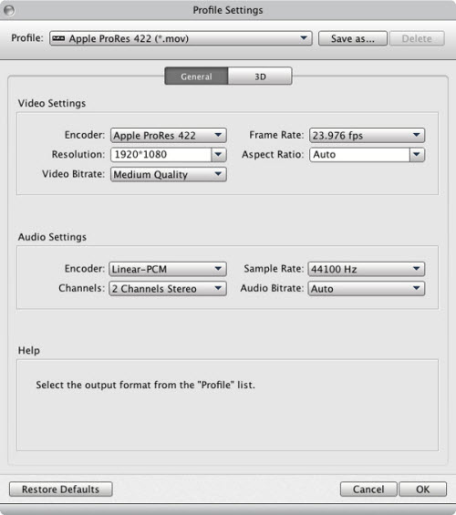 settings for p2 mxf